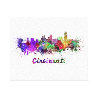 Cincinnati skyline in watercolor canvas print