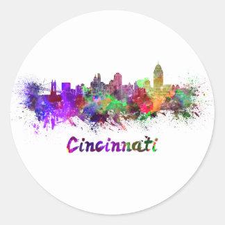Cincinnati skyline in watercolor classic round sticker