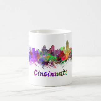 Cincinnati skyline in watercolor coffee mug