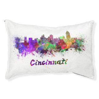 Cincinnati skyline in watercolor pet bed