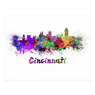 Cincinnati skyline in watercolor postcard