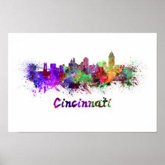 Cincinnati skyline in watercolor poster
