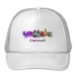 Cincinnati skyline in watercolor trucker hat