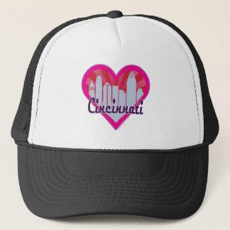 Cincinnati Skyline Sunburst Heart Trucker Hat
