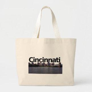 Cincinnati Skyline with Cincinnati in the sky abov Large Tote Bag