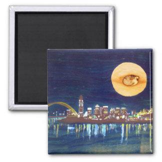Cincinnati Skyline Wood Moon Magnet