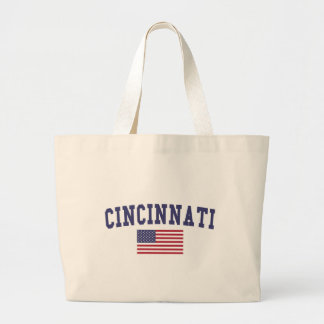 Cincinnati US Flag Large Tote Bag