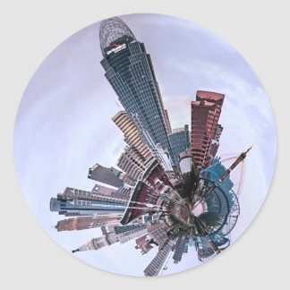 Cincinnati with a Spin! Classic Round Sticker