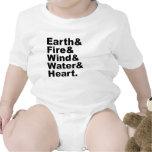 Cinco agua y corazón del viento del fuego de la ti traje de bebé