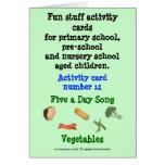 Cinco al día - verduras tarjetón