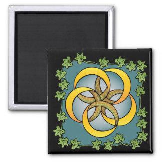 Cinco anillos de oro imán cuadrado