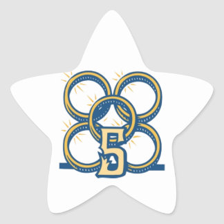 ¡Cinco anillos de oro! Pegatina En Forma De Estrella