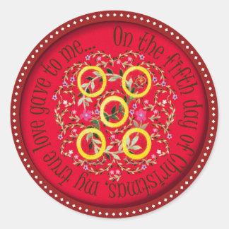 Cinco anillos de oro pegatina redonda