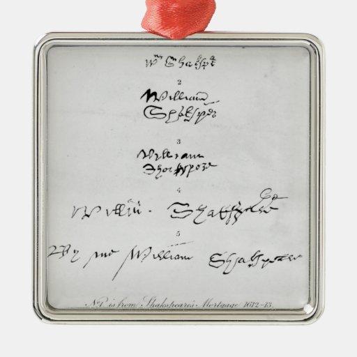 Cinco autógrafos auténticos de William Shakespeare Adorno Navideño Cuadrado De Metal