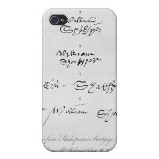 Cinco autógrafos auténticos de William Shakespeare iPhone 4 Funda