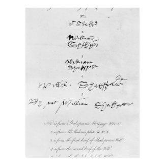 Cinco autógrafos auténticos de William Shakespeare Postales