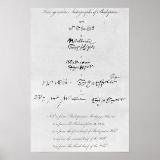 Cinco autógrafos auténticos de William Shakespeare Póster