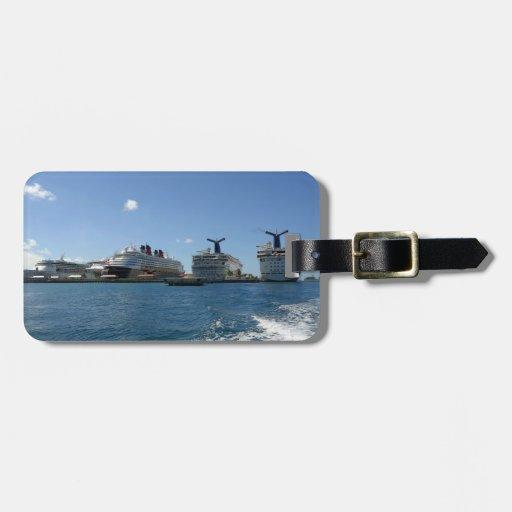 Cinco barcos de cruceros de encargo etiquetas bolsas