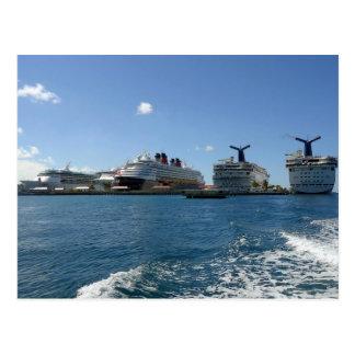 Cinco barcos de cruceros postal