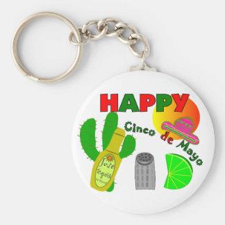 """""""Cinco cal del de Mayo feliz"""", Tequila y diseño de Llavero Redondo Tipo Pin"""