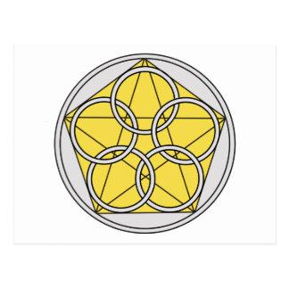 Cinco círculo Star1 Tarjetas Postales