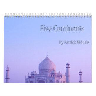 Cinco continentes de Patrick Niddrie Calendario De Pared