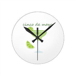 Cinco de Maya Margarita Round Wallclocks