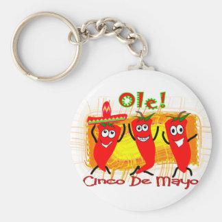 Cinco de Mayo 3 chiles de baile Pimienta-Adorables Llavero Redondo Tipo Pin