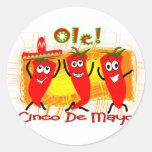 Cinco de Mayo 3 chiles de baile Pimienta-Adorables Etiquetas Redondas
