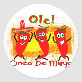 Cinco de Mayo 3 chiles de baile Pimienta-Adorables Pegatina Redonda
