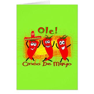 Cinco de Mayo 3 chiles de baile Pimienta-Adorables Tarjetón