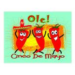 Cinco de Mayo 3 chiles de baile Pimienta-Adorables Postal