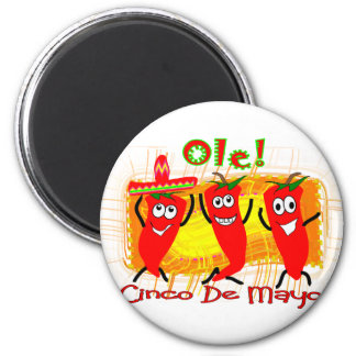 Cinco de Mayo 3 Dancing Chilli Peppers-Adorable 2 Inch Round Magnet