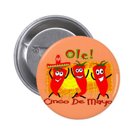 Cinco de Mayo 3 Dancing Chilli Peppers-Adorable Pinback Button