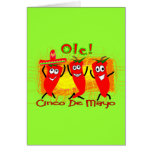 Cinco de Mayo 3 Dancing Chilli Peppers-Adorable Greeting Cards