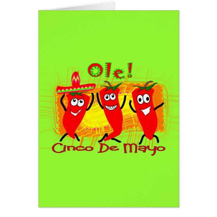 Cinco de Mayo 3 Dancing Chilli Peppers-Adorable Card