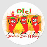 Cinco de Mayo 3 Dancing Chilli Peppers-Adorable Classic Round Sticker