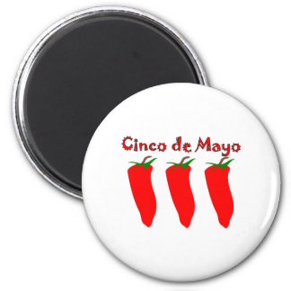 Cinco de Mayo 3 Peppers 2 Inch Round Magnet