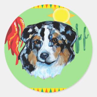 CINCO de MAYO AUSTRALIAN SHEPHERD Classic Round Sticker
