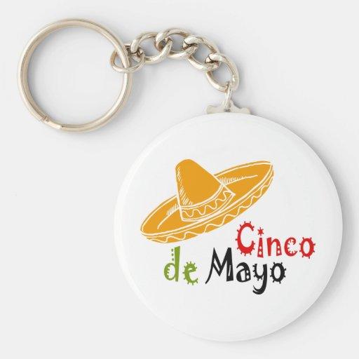 Cinco de Mayo Basic Round Button Keychain