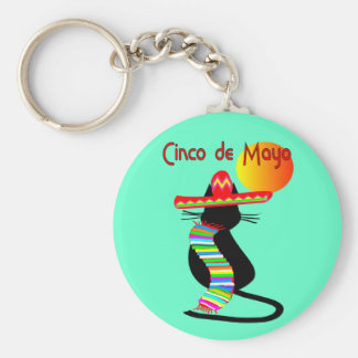 Cinco de mayo CAT Design--Adorable Basic Round Button Keychain