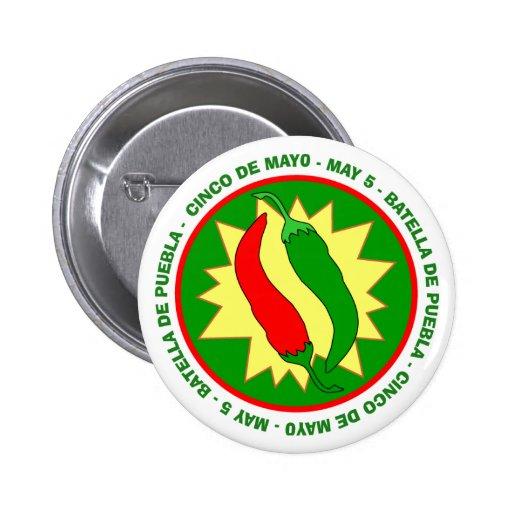 Cinco de Mayo Chili Peppers Badge Button