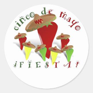 Cinco De Mayo Dancing Peppers Classic Round Sticker