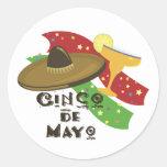 Cinco de Mayo Etiqueta Redonda