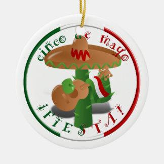 Cinco De Mayo Fiesta!  Cactus with Sombrero Ceramic Ornament