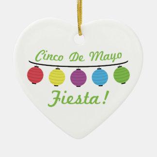 Cinco De Mayo Fiesta! Double-Sided Heart Ceramic Christmas Ornament