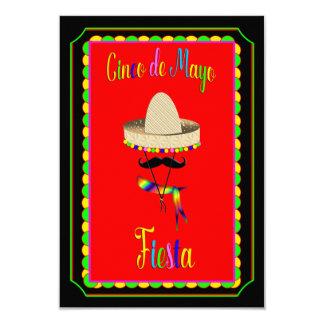 Cinco de Mayo Invitation - Mexcian Hat/Mustache
