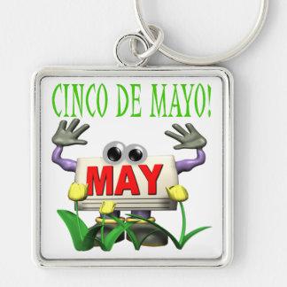 Cinco De Mayo Llavero Cuadrado Plateado