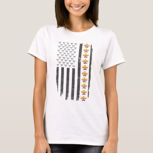 Cinco De Mayo Mexican American Sombrero Flag Gifts T_Shirt