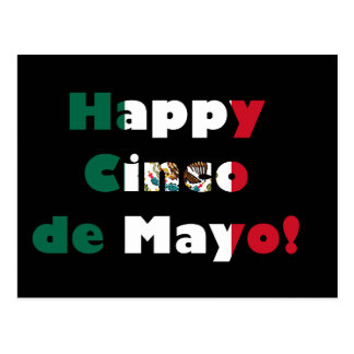 Cinco de Mayo Mexican Flag Design Postcard